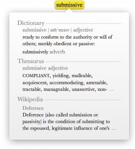 The Dictionary definition of submisive